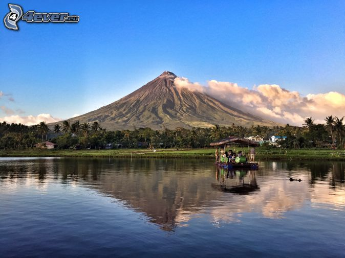 Mount Mayon, raft, sea, forest, Philippines