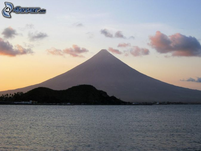 Mount Mayon, sea, Philippines