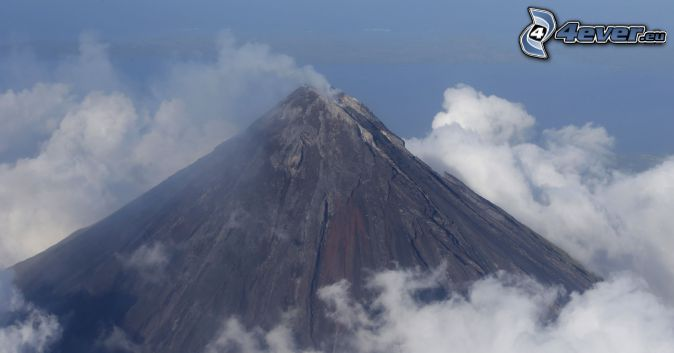 Mount Mayon, volcano, clouds, Philippines