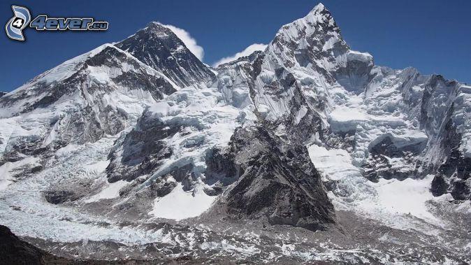 Mount Nuptse, snowy hill, Nepal