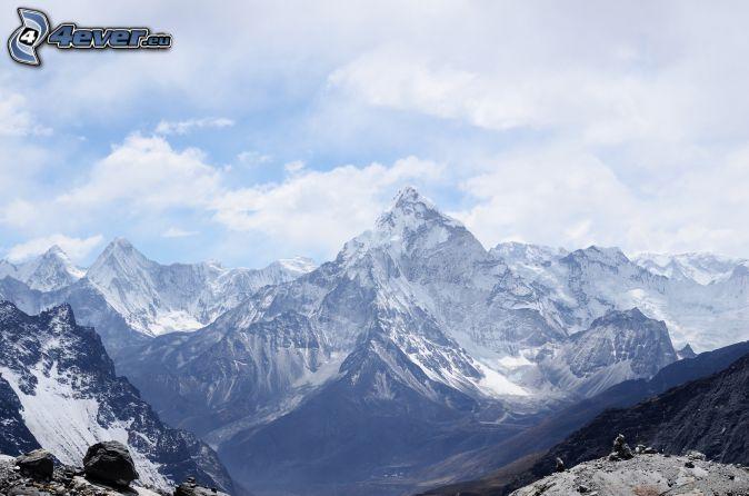snowy mountains, rocky mountains