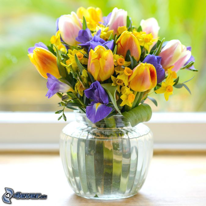 bouquets, flowers in a vase, yellow tulips, daffodils