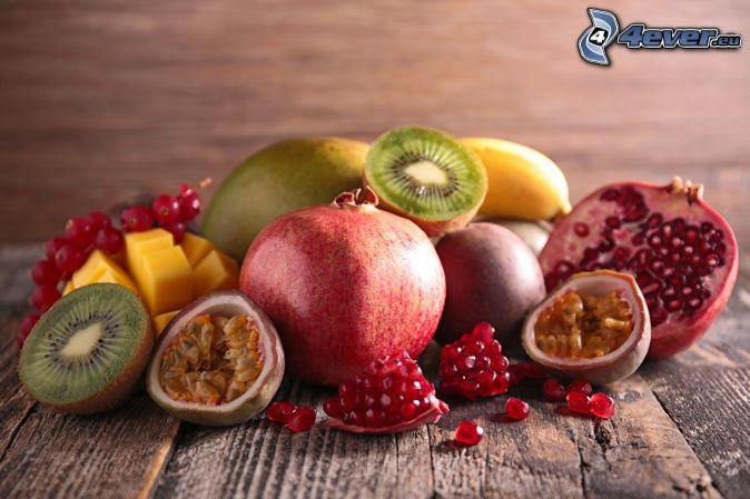 pomegranates, figs, kiwi, bananas, mango, redcurrants
