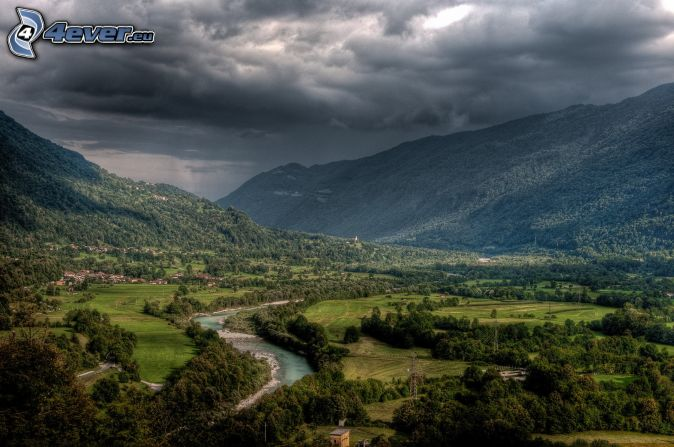 River, hills, storm clouds