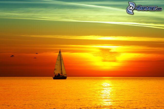 Sailing Boat Sunrise Sailing Boat Sunrise at Sea