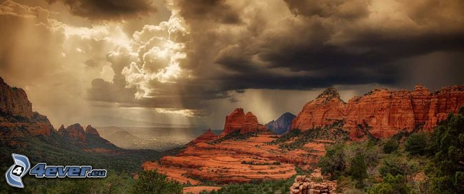 Sedona - Arizona, rocks, dark clouds, sunbeams