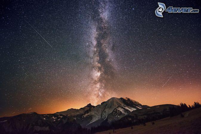night sky, Milky Way, mountain