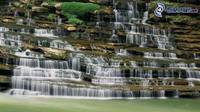waterfall, rock