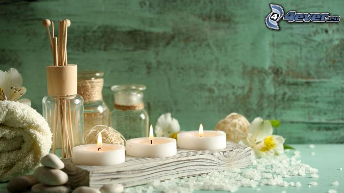candles, bath salts, incense sticks