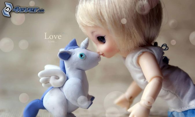 doll, unicorn, love