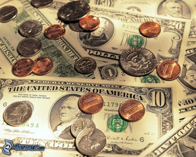 dollars, coins, bank notes
