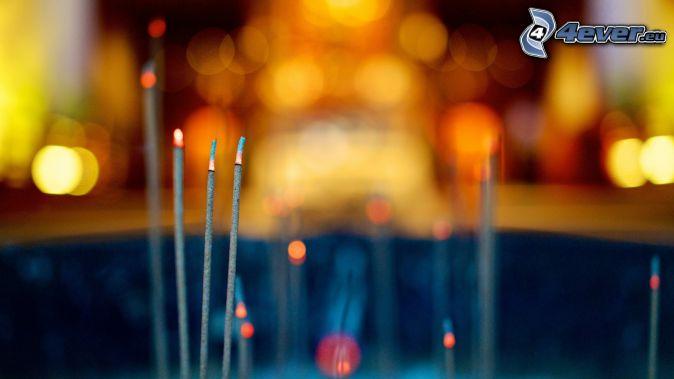 incense sticks, lights