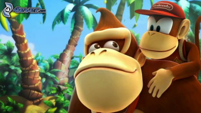 Donkey Kong Country Returns, gorilla, palm trees