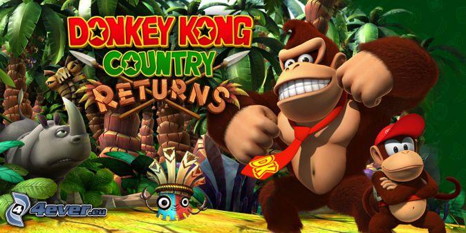 Donkey Kong Country Returns, gorillas, rhino