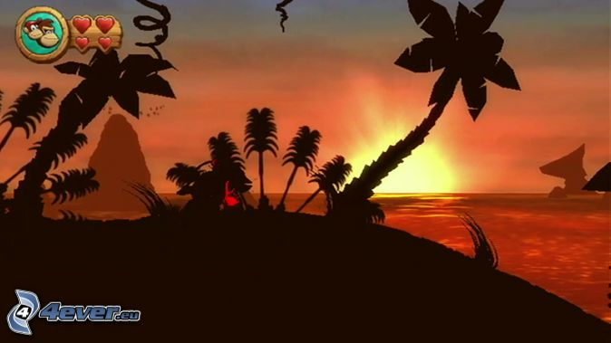 Donkey Kong Country Returns, sunset behind the sea, palm trees on the beach