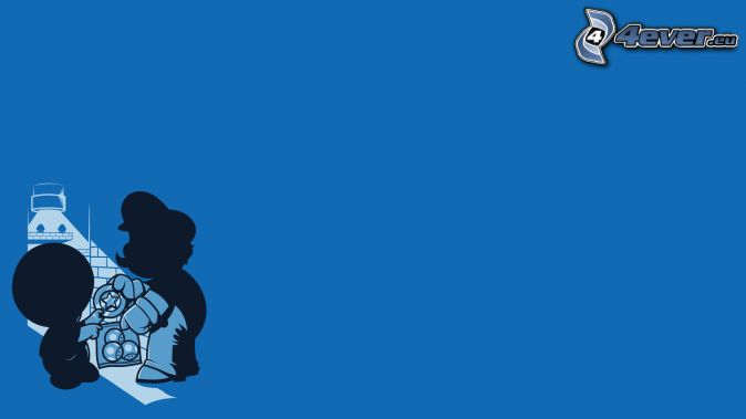 Super Mario, cartoon character, silhouette