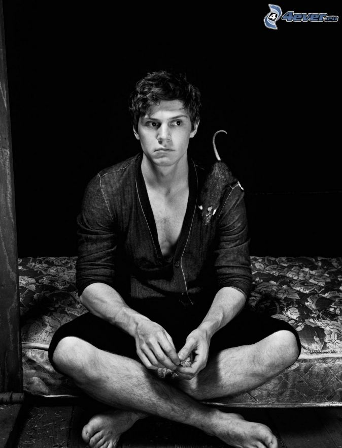 Evan Peters, black and white photo