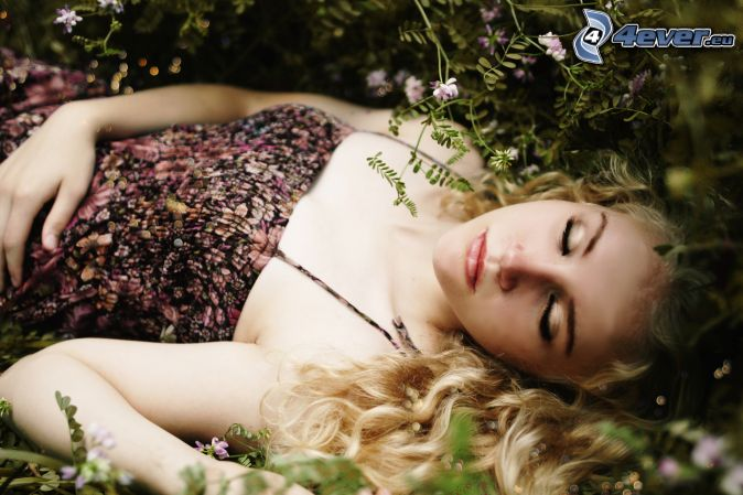 blonde, sleep