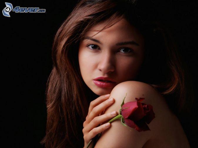 brunette, red rose