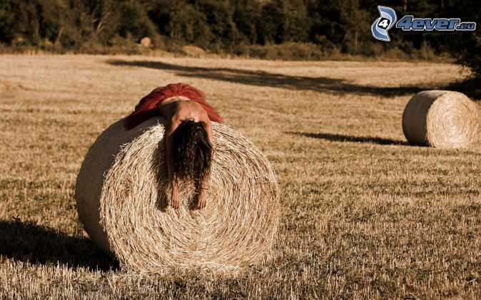 brunette, topless, hay after harvest