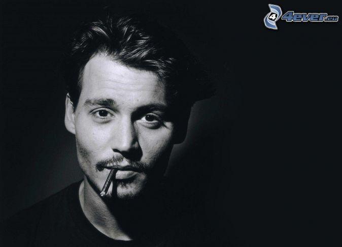 man, cigarette, black and white photo