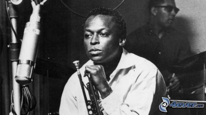 Miles Davis, black and white photo