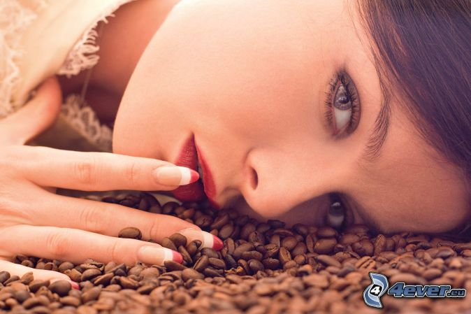 woman, coffee beans