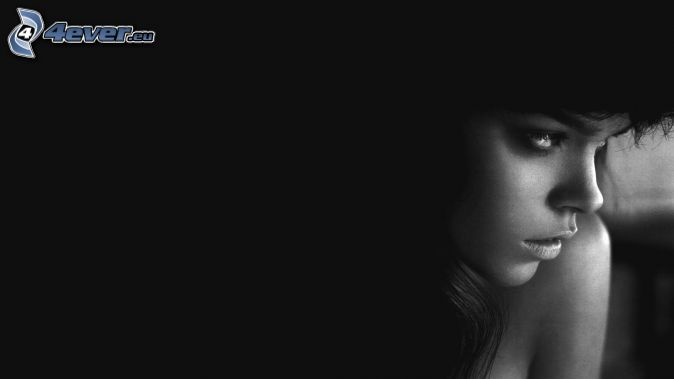 beautiful woman's face, black and white photo
