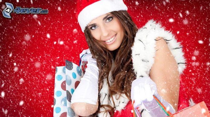 brunette, Santa Claus hat