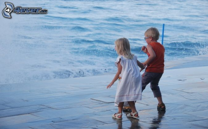 boy and girl, water