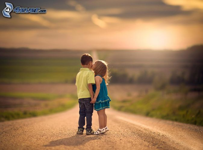 children, couple, kiss, road, sunset