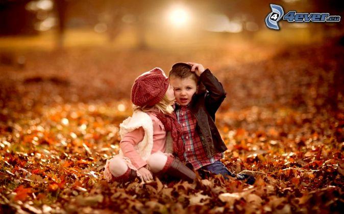 children, kiss, autumn leaves
