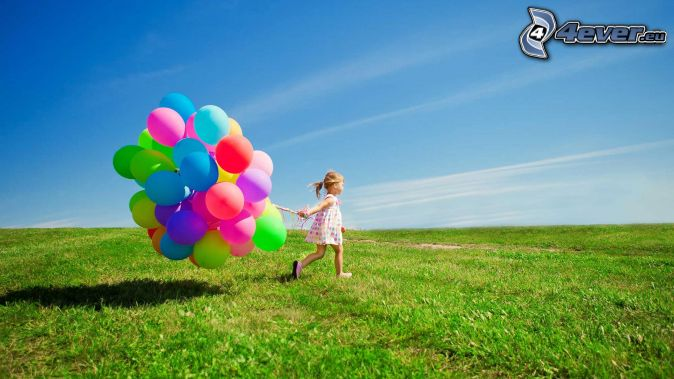 girl, balloons, meadow