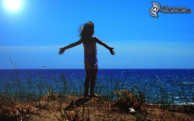 girl, sea