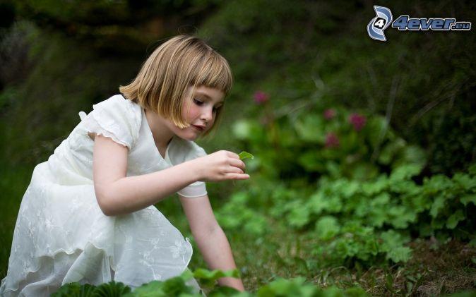 girl, white dress, leaf