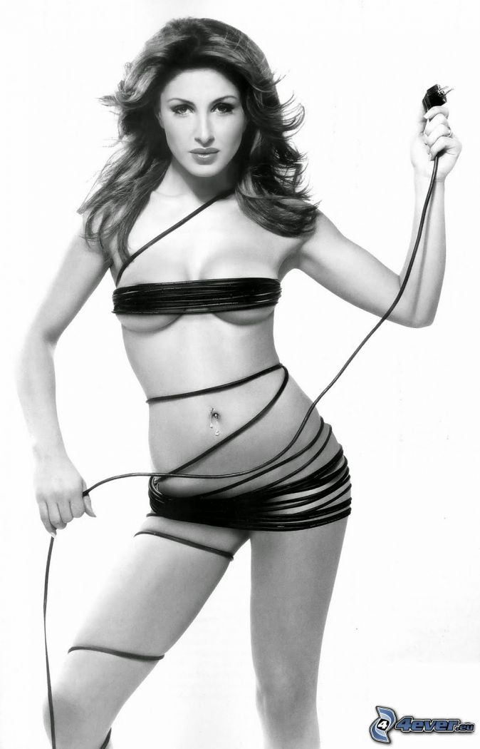 Helena Paparizou, black and white photo, cable