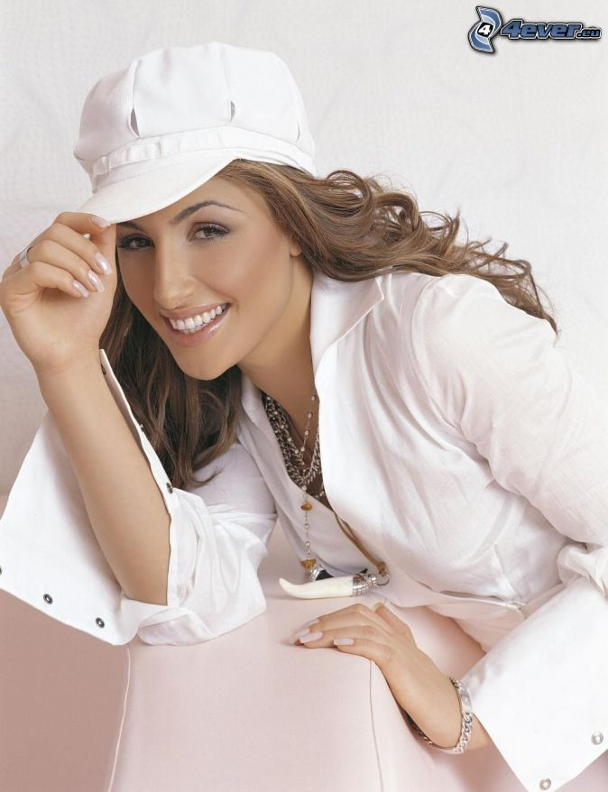 Helena Paparizou, white shirt, cap