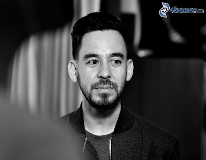 Mike Shinoda, black and white photo