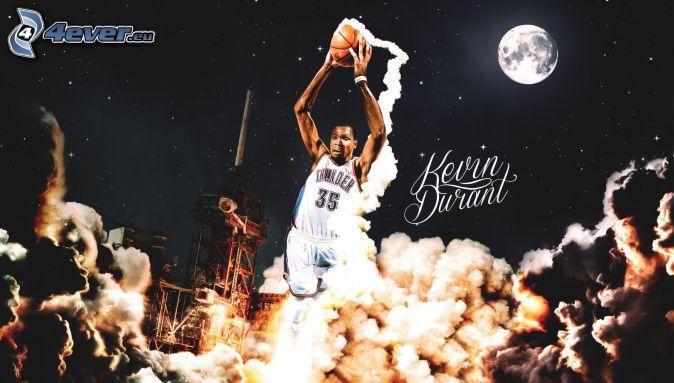 basketball player, ball, moon, smoke