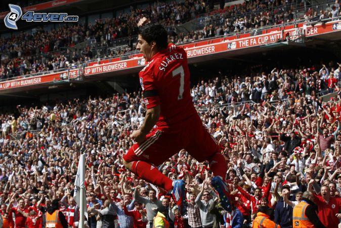 Luis Suárez, footballer, jump, spectators