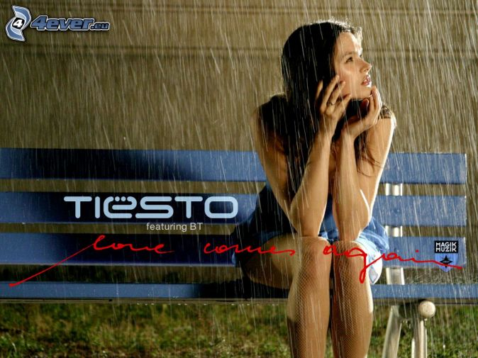 Woman in rain, DJ Tiësto, bench