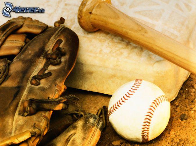 baseball, baseball bat, gloves