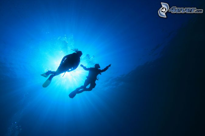 divers, sunbeams