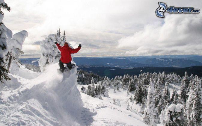 extreme snowboarding, snowy landscape