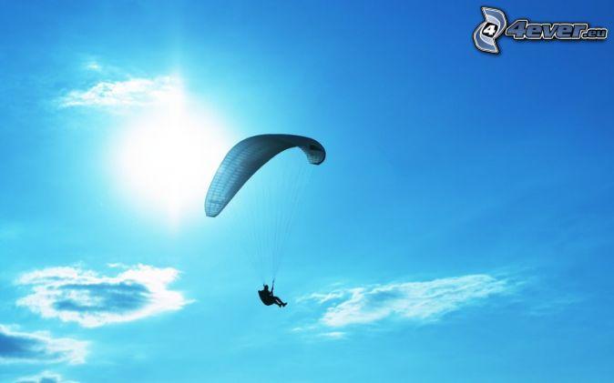 paragliding, sun, blue sky