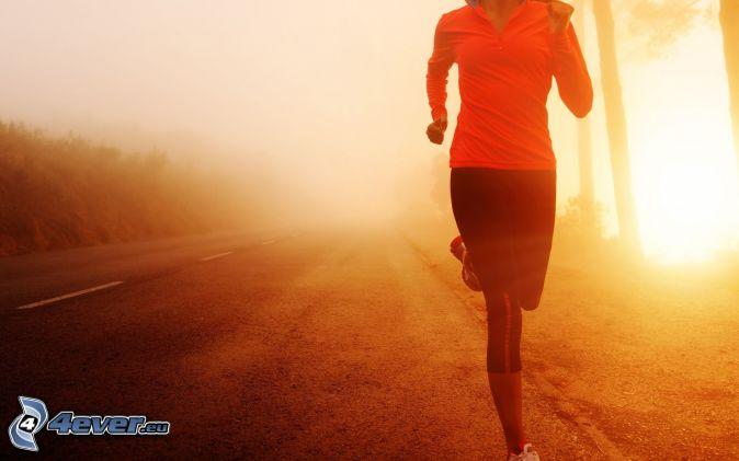 running, road, sunrise