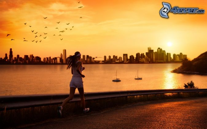 running, silhouette of the city, sea, flock of birds, yellow sky