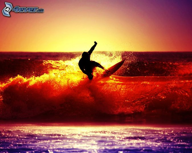 surfing, colored, waves