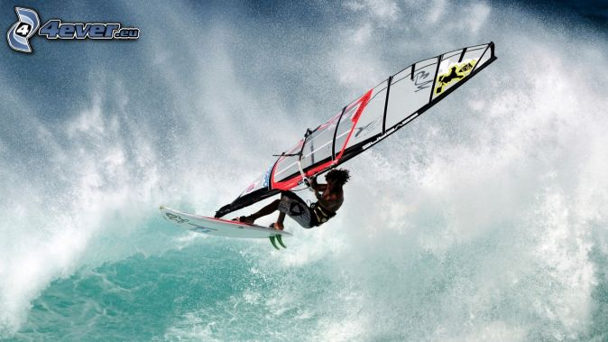 windsurfing, wave, sea