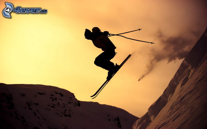 skiing, jumping on the ski, after sunset, snow